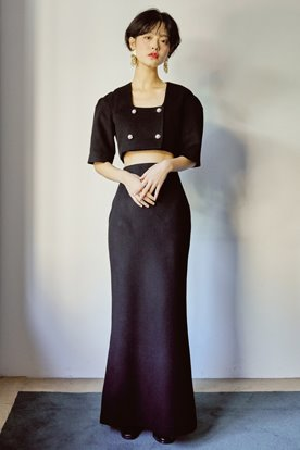 RETRO MOOD LONG SKIRT (BLACK)