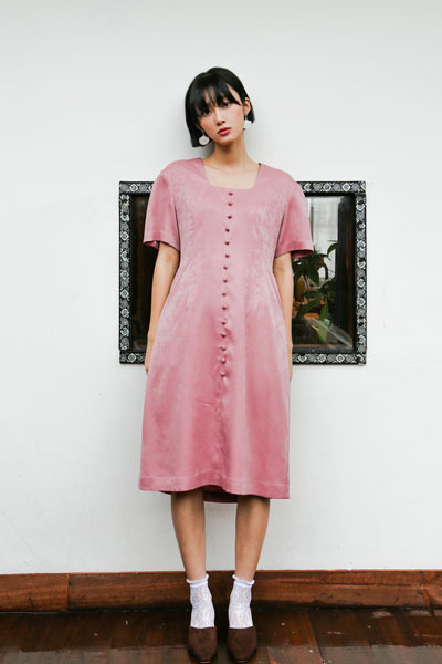 square neck dress (pink)