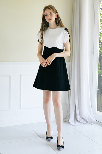 Color Wave Mini Dress _ White