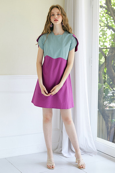 Color Wave Mini Dress _ Mint