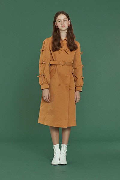 ribbon trench coat (mustard)