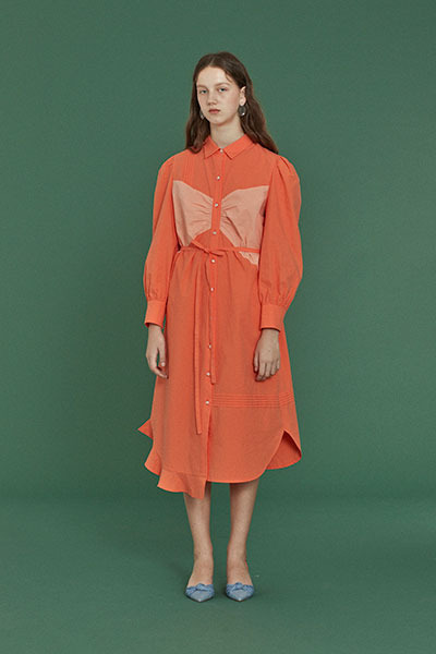 ribbon patch dress (orange)