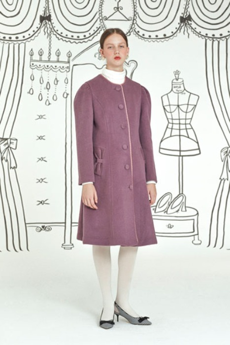 ribbon pocket coat (purple)