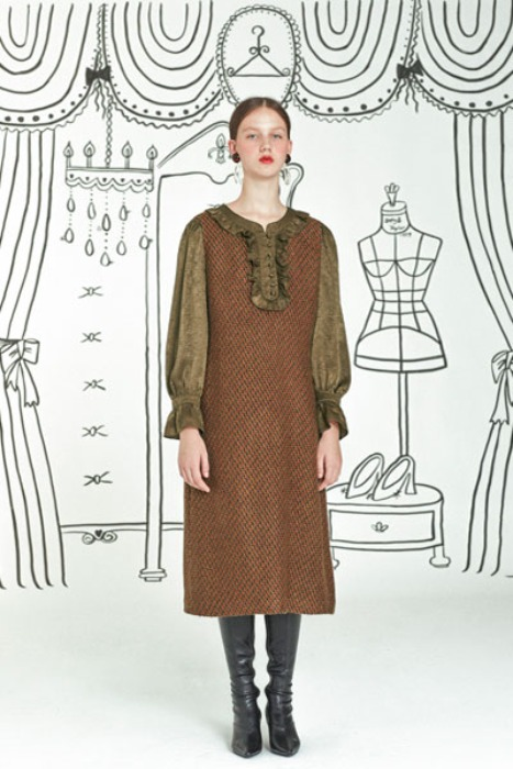 frill tweed dress (khaki)