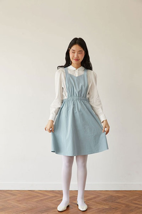 solid apron dress (blue)