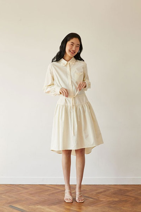 round hem line shirts dress (cream)
