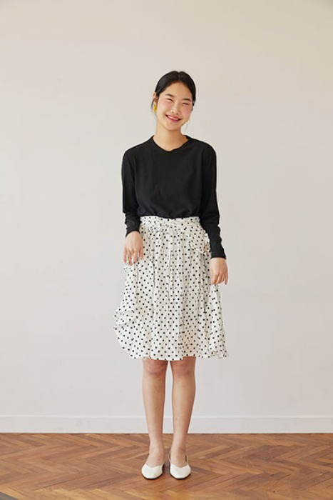 dot apron skirt (white)