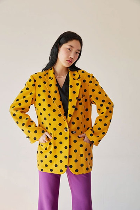 flower button over-fit jacket (yellow dot)