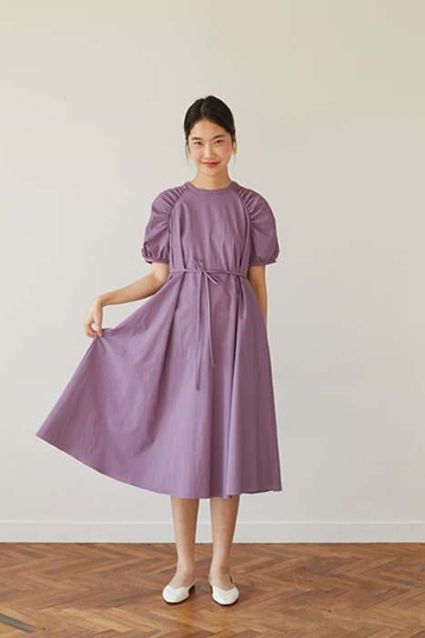 raglan sleeve A-line dress (purple)
