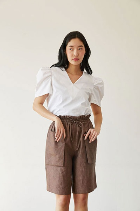 linen bermuda pants (brown)