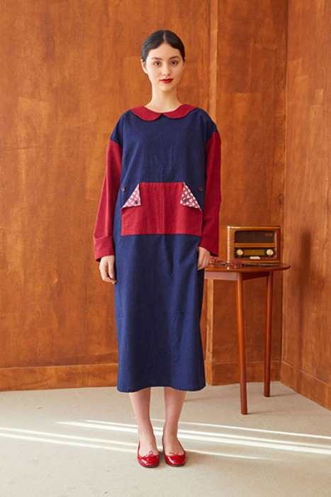 k-patchwork dress (navy)