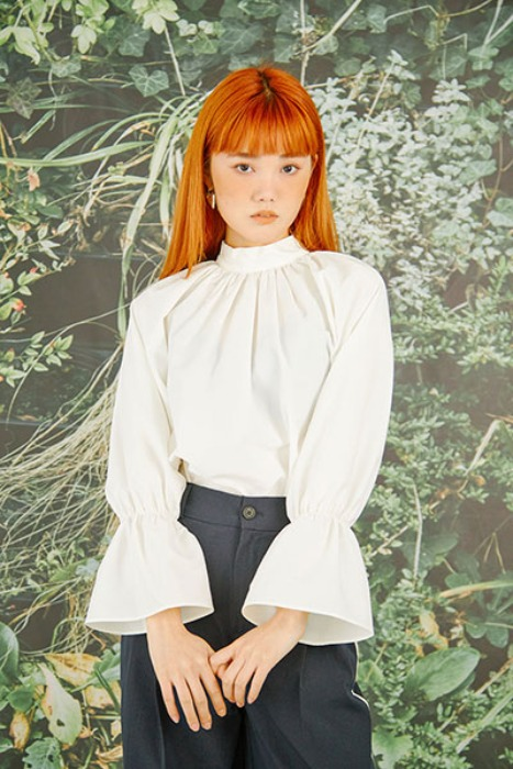bow collar white blouse