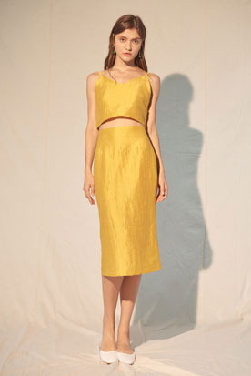 gold yellow sleeveless top & skirt