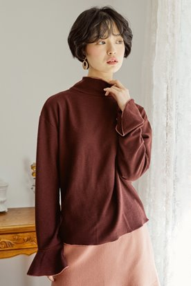 STITCH POINT KNIT TOP (BURGUNDY)