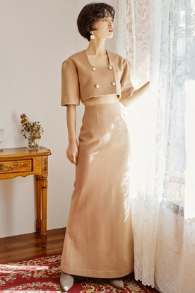 RETRO MOOD LONG SKIRT (BEIGE)