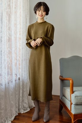 KNIT LONG DRESS (KHAKI)