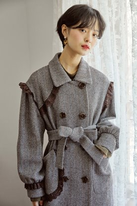 ROCOCO DOUBLE BREASTED COAT (BROWN)