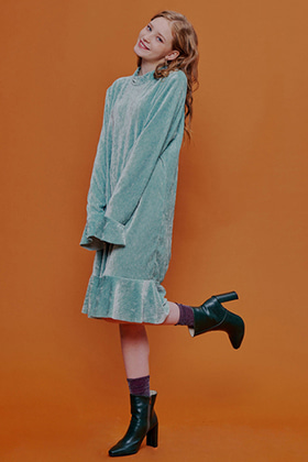 twninkle velvet ruffle dress(mint)