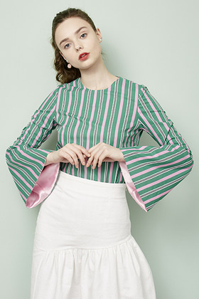 flare sleeve blouse (green)
