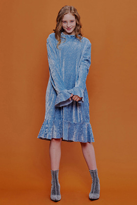 twninkle velvet ruffle dress(blue)