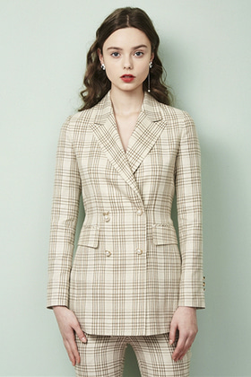 double breasted check jacket (beige)