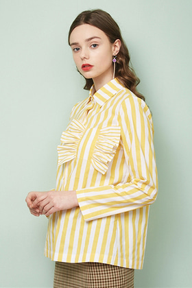 ribbon pocket shirts (yellow)