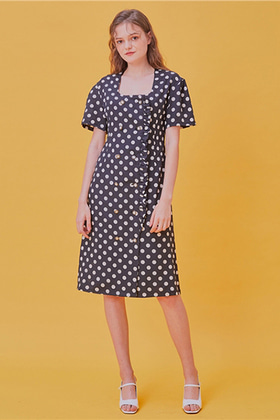 square neckline dot dress