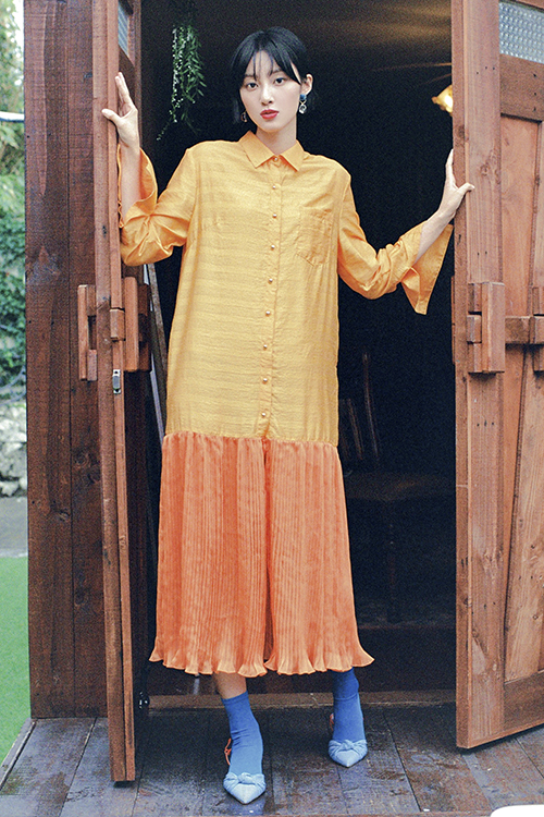 pleats shirts dress (orange)