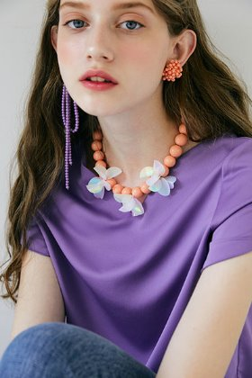 spangle flower necklace (orange)