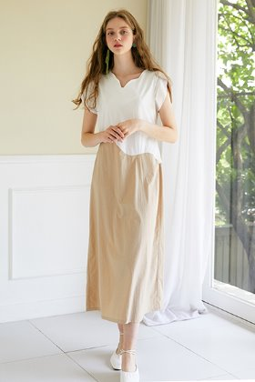 color wave long dress _ ivory
