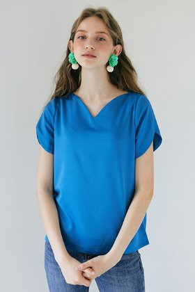 Heart Neckline Top _ Blue