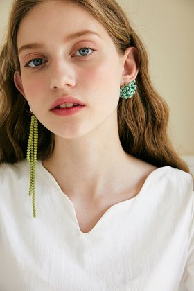 unbalance flower earring (green)