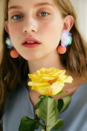 spangle flower earring (clear)