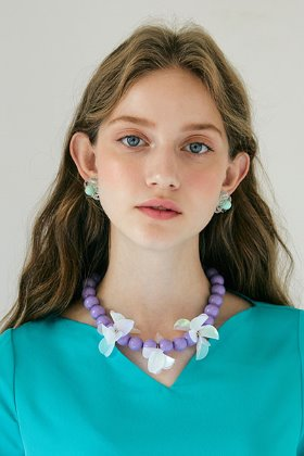 spangle flower necklace (violet)