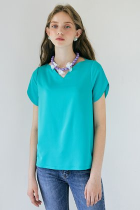 Heart Neckline Top _ Green
