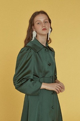 elbow shirring coat dress (green)
