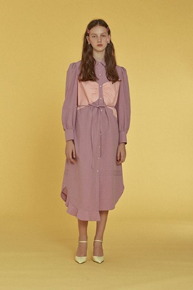 ribbon patch shirts dress (purple)