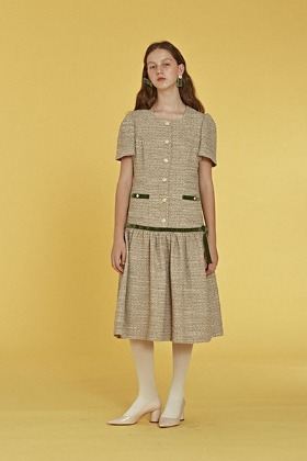 ribbon tweed dress (green)