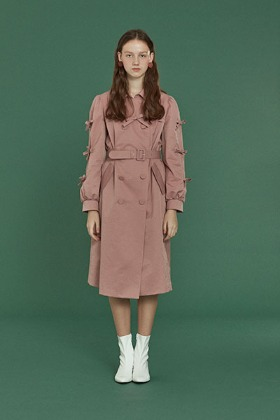 ribbon trench coat (pink)