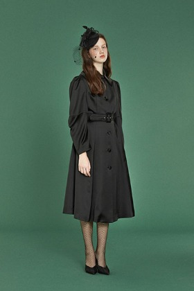 elbow shirring coat dress (black)