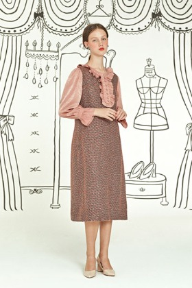 frill tweed dress (pink)