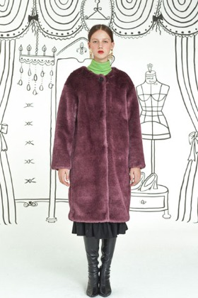 round neck fur coat (violet)