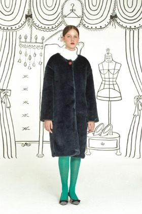 round neck fur coat (navy)