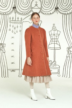 ribbon picket coat (orange)