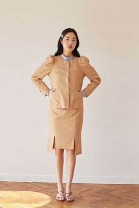 puff sleeve short jacket (beige)