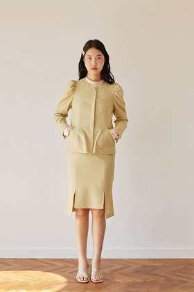 puff sleeve short jacket (green)