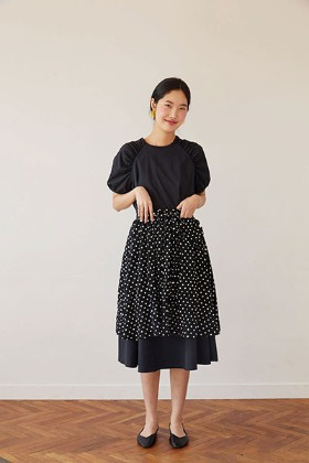 dot apron skirt (black)