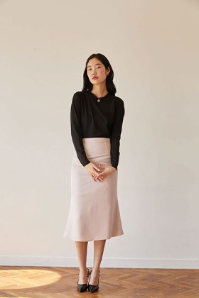 satin mermaid fit skirt (pink)