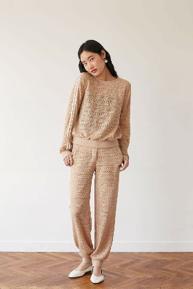 lace training pants (beige)