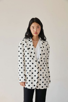 flower button over-fit jacket (white dot)